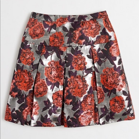 J. Crew Dresses & Skirts - J.Crew metallic floral jacquard pleated skirt